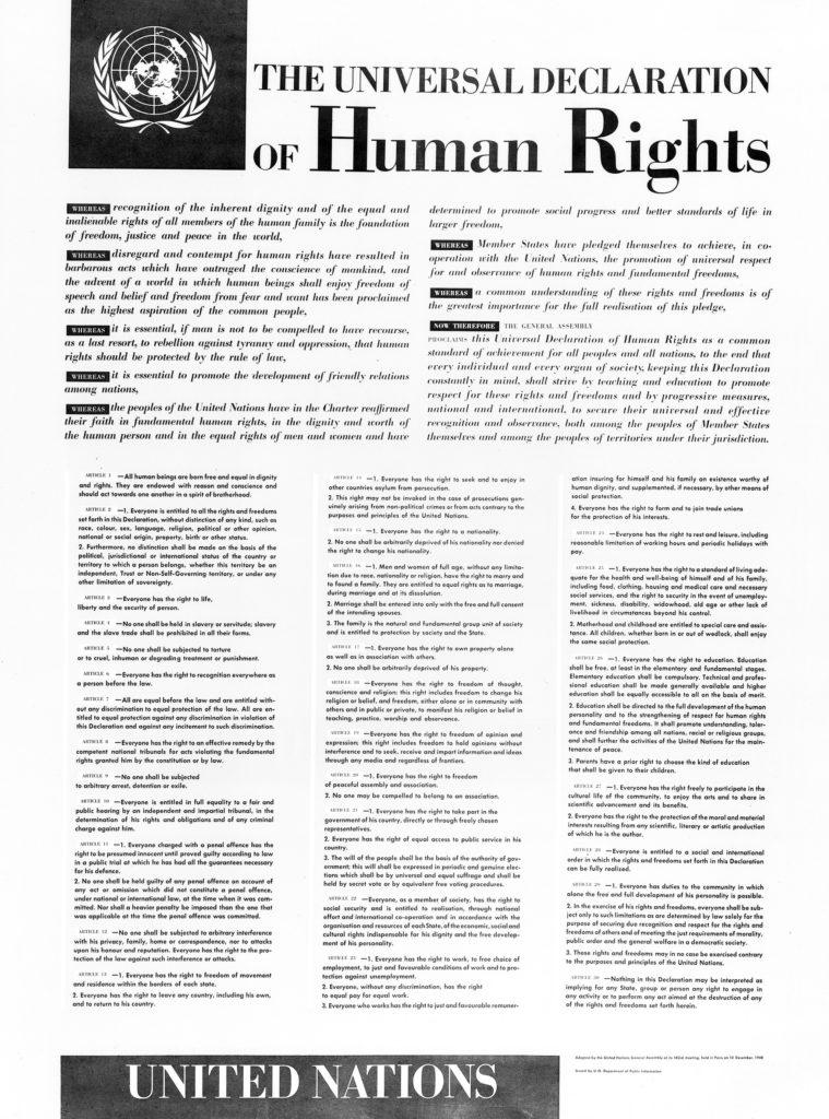 Photo du texte entier de la Déclaration universelle des droits de l'Homme.